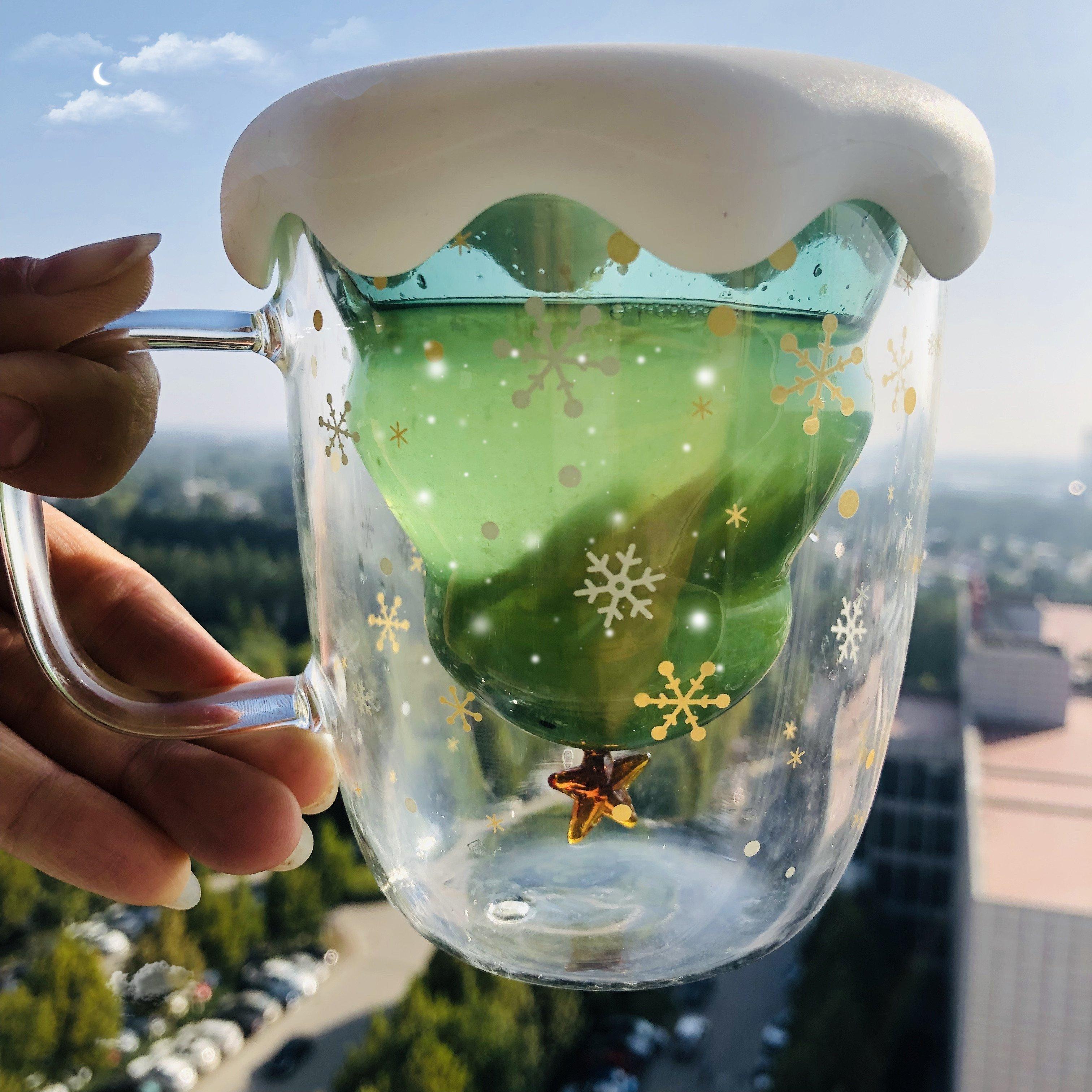 Christmas Tree Insulated Glass Coffee Mug