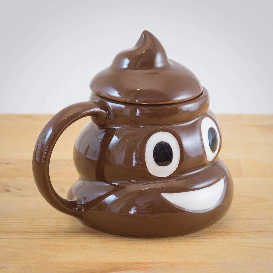 Poop Emoji Mug with Swirly Handgrip Lid