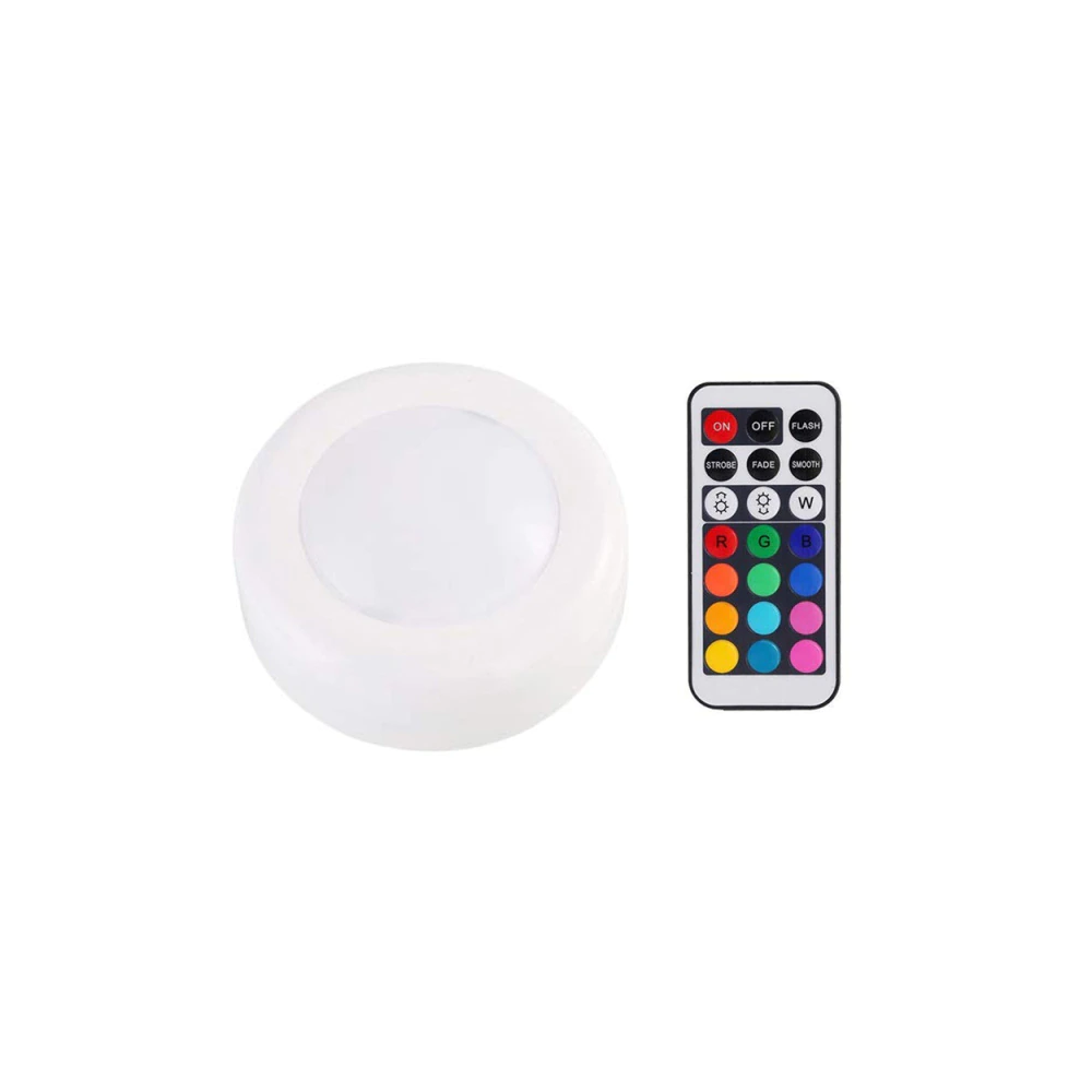 13 color self-adhesive led push lights with remote - 1