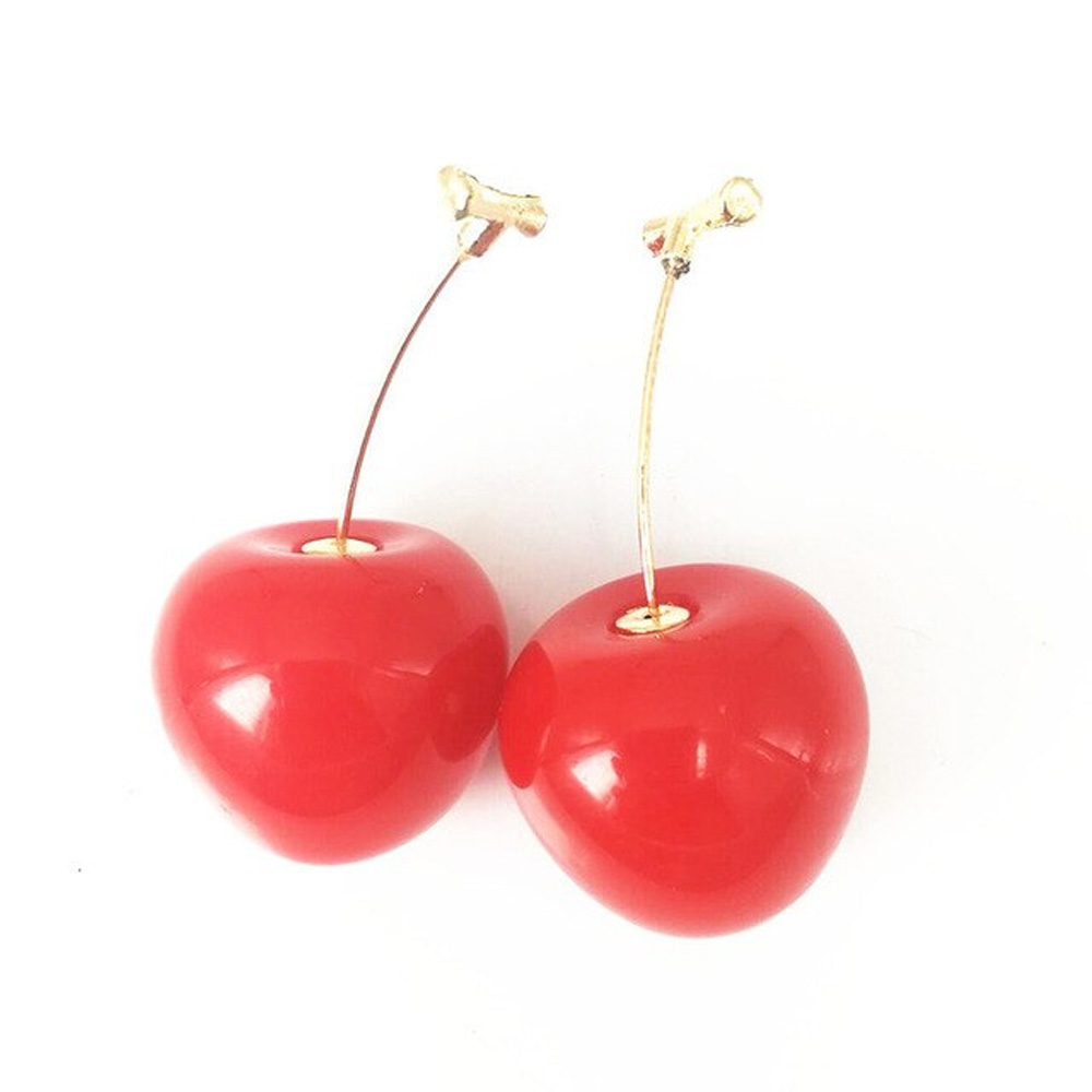 Drop Cherry Earrings With Gold Stems - Red Cherry