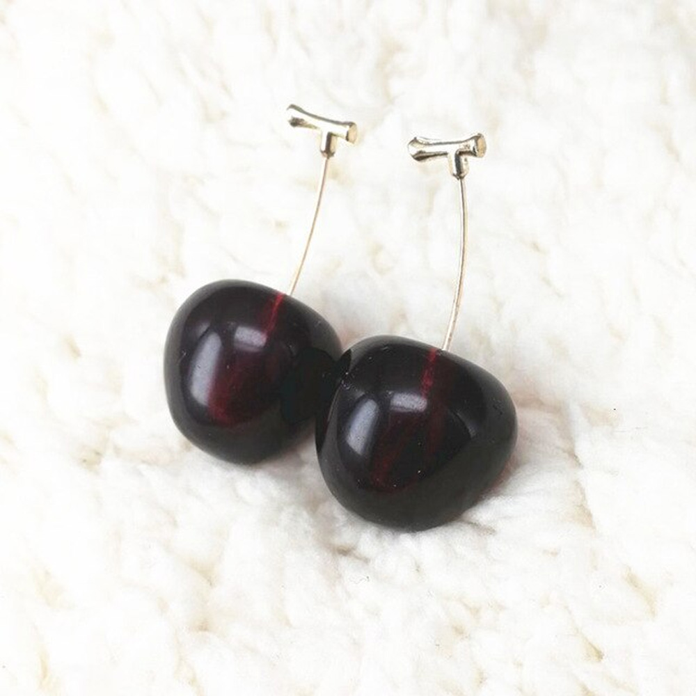 Drop Cherry Earrings With Gold Stems - Black Cherry