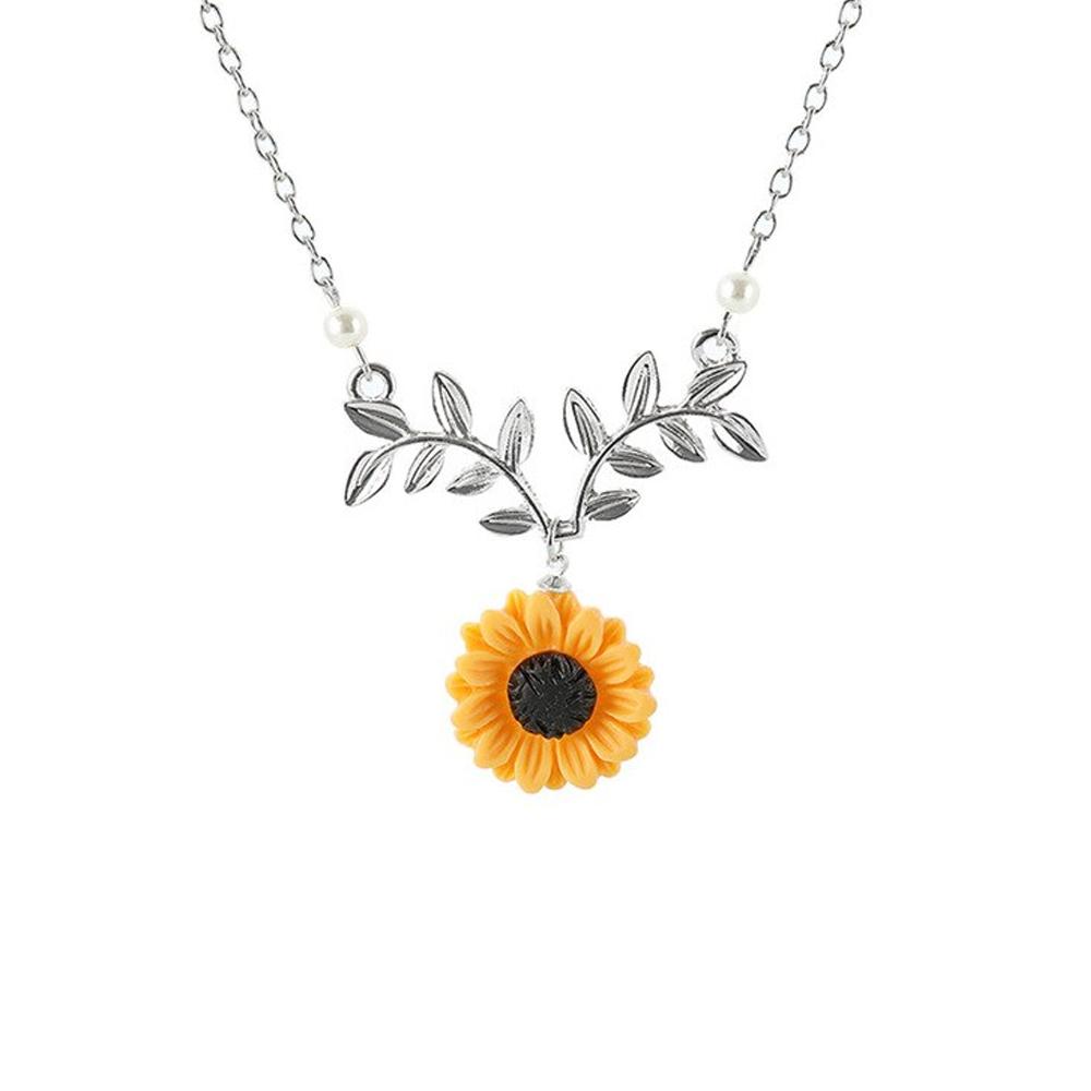 zincalloysunflowerpendantnecklacewithleavessilver