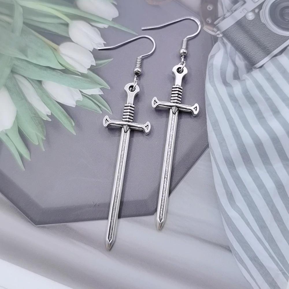 Cool Zinc Alloy Sword Earrings - Silver