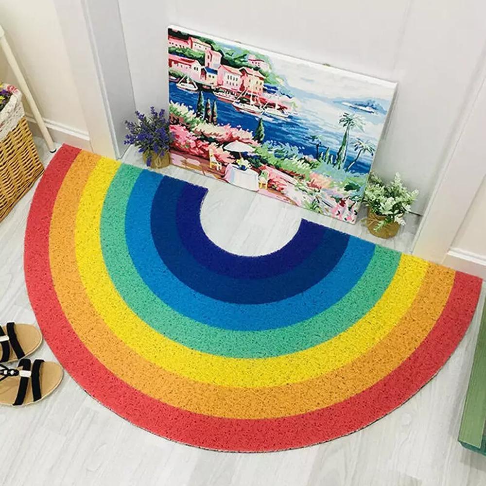 Water-resistant PVC Rainbow Floor Doormat With Anti-slip Back, 2 Sizes