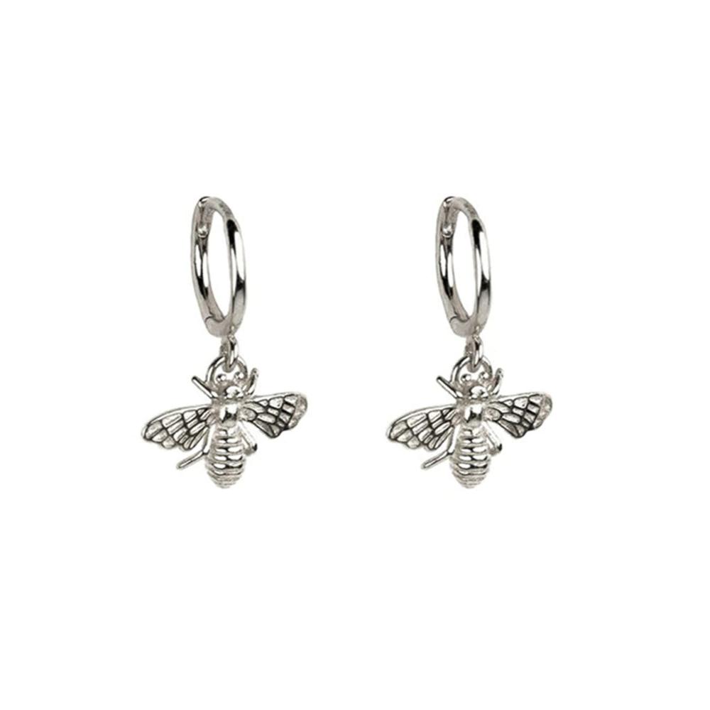Gold & Silver Copper Alloy Honey Bee Earrings - Silver
