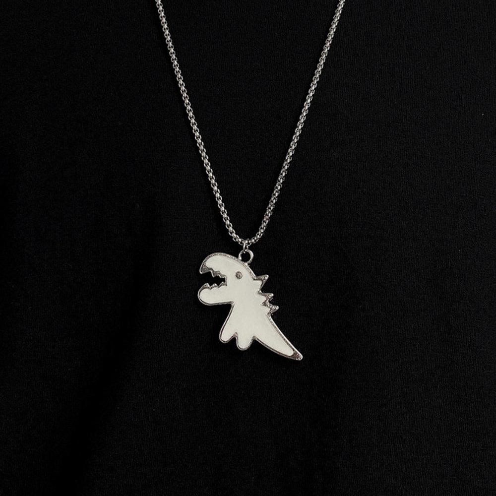 Cartoon Dinosaur Pendant Necklace - White