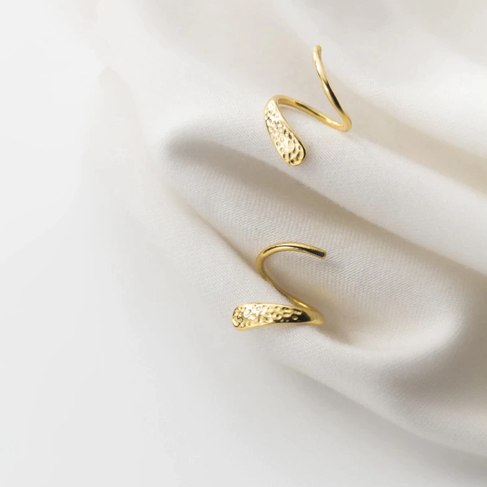 925 Sterling Silver Spiral Stud Earrings - Gold