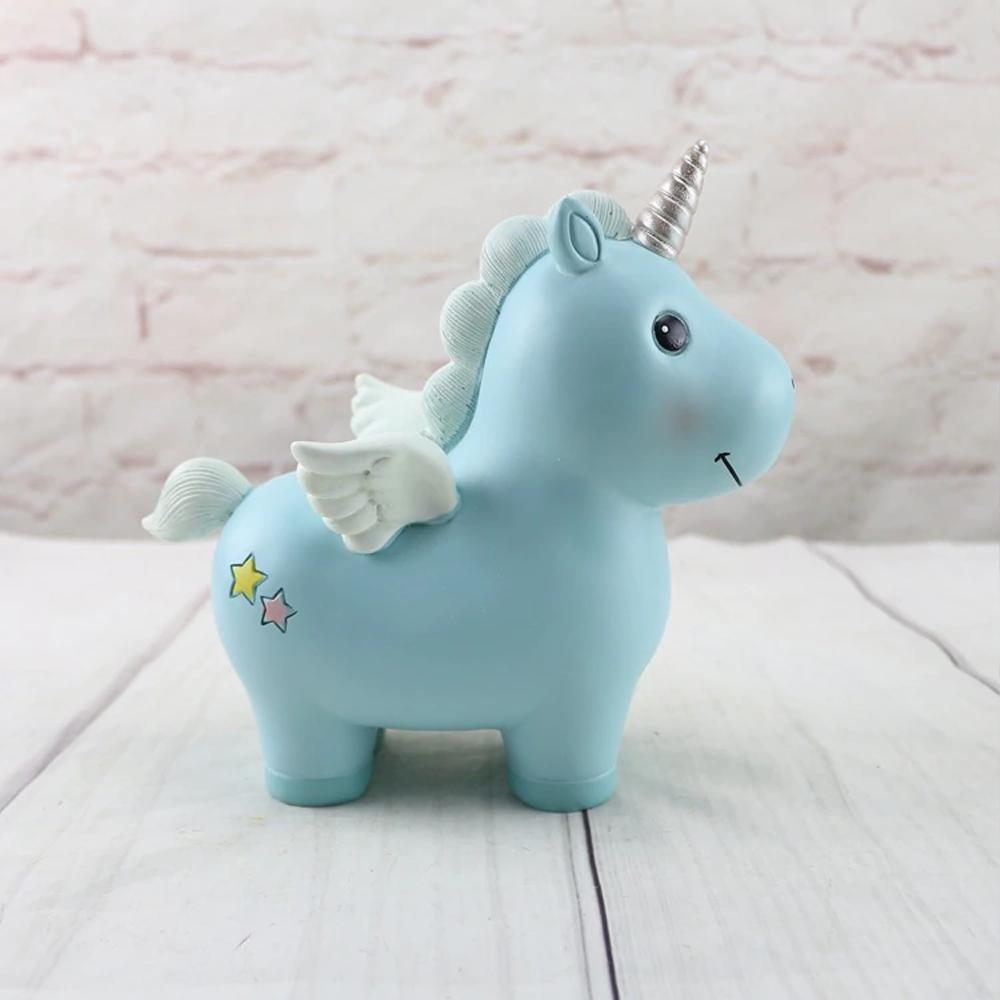 unicornpiggybankwithhornwingsblue
