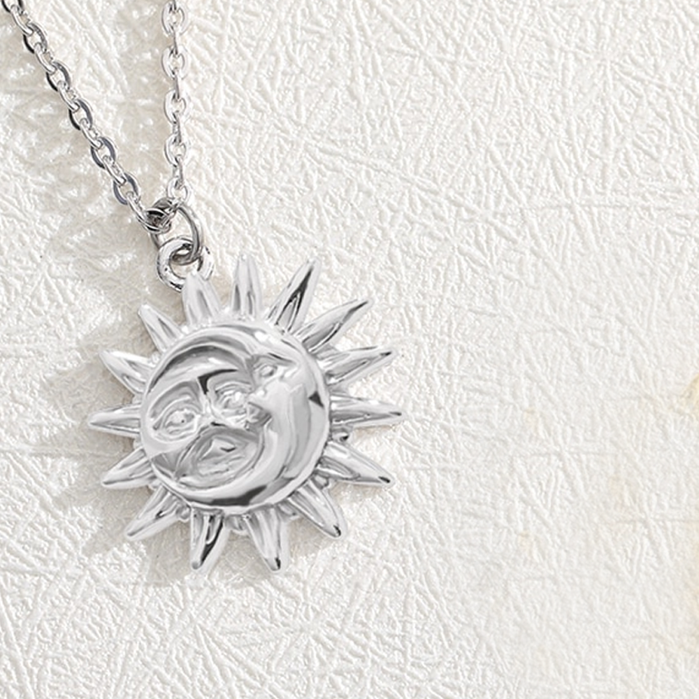 Stainless Steel Dainty Sun Pendant Necklace - Silver