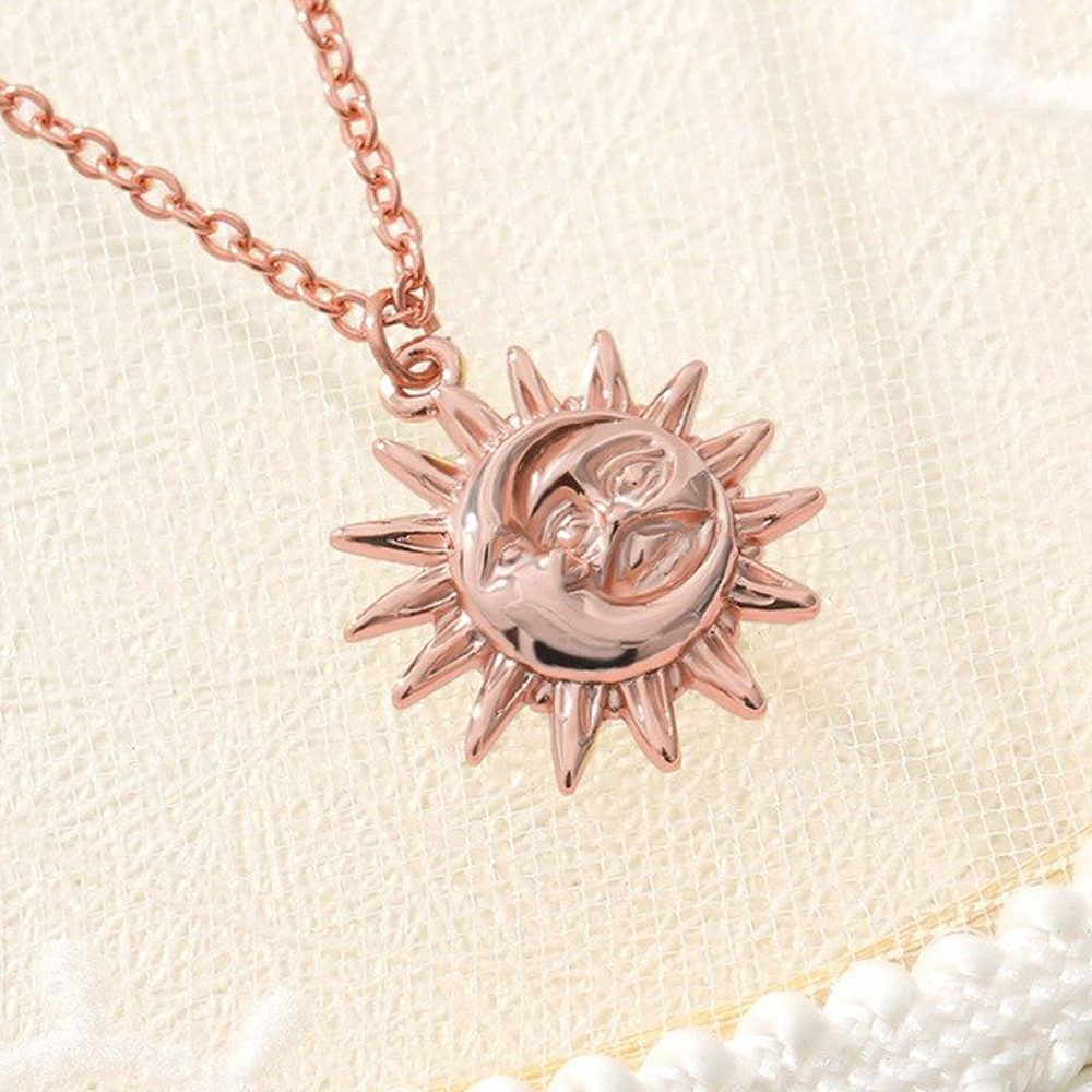 Stainless Steel Dainty Sun Pendant Necklace - Rose Gold