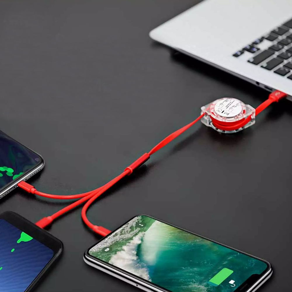 3-in-1 Retracting USB Cable Data Charger