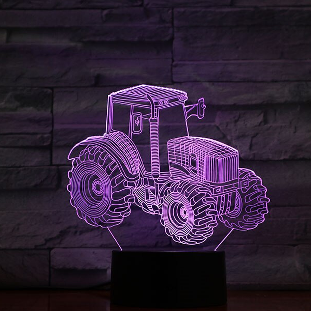 3D Optical Illusion Tractor Night Light Lamp