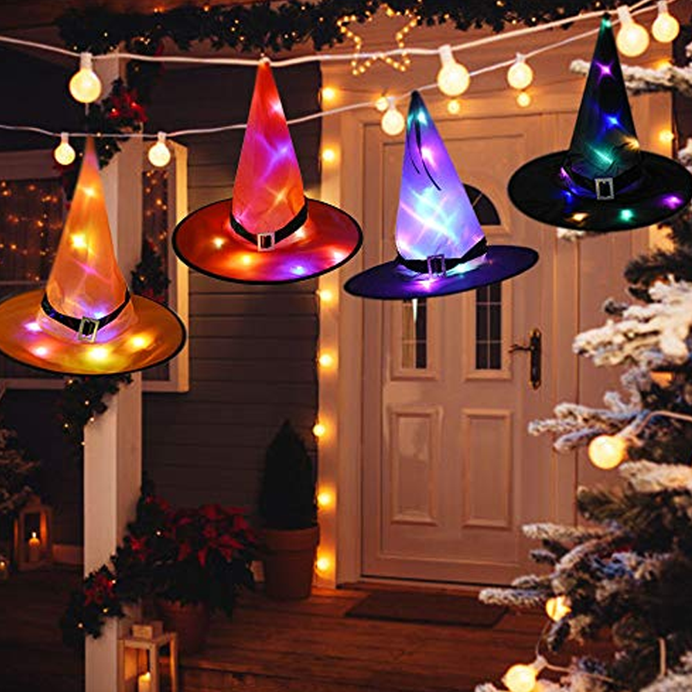 Colorful Hanging Halloween Witch Hat Lights