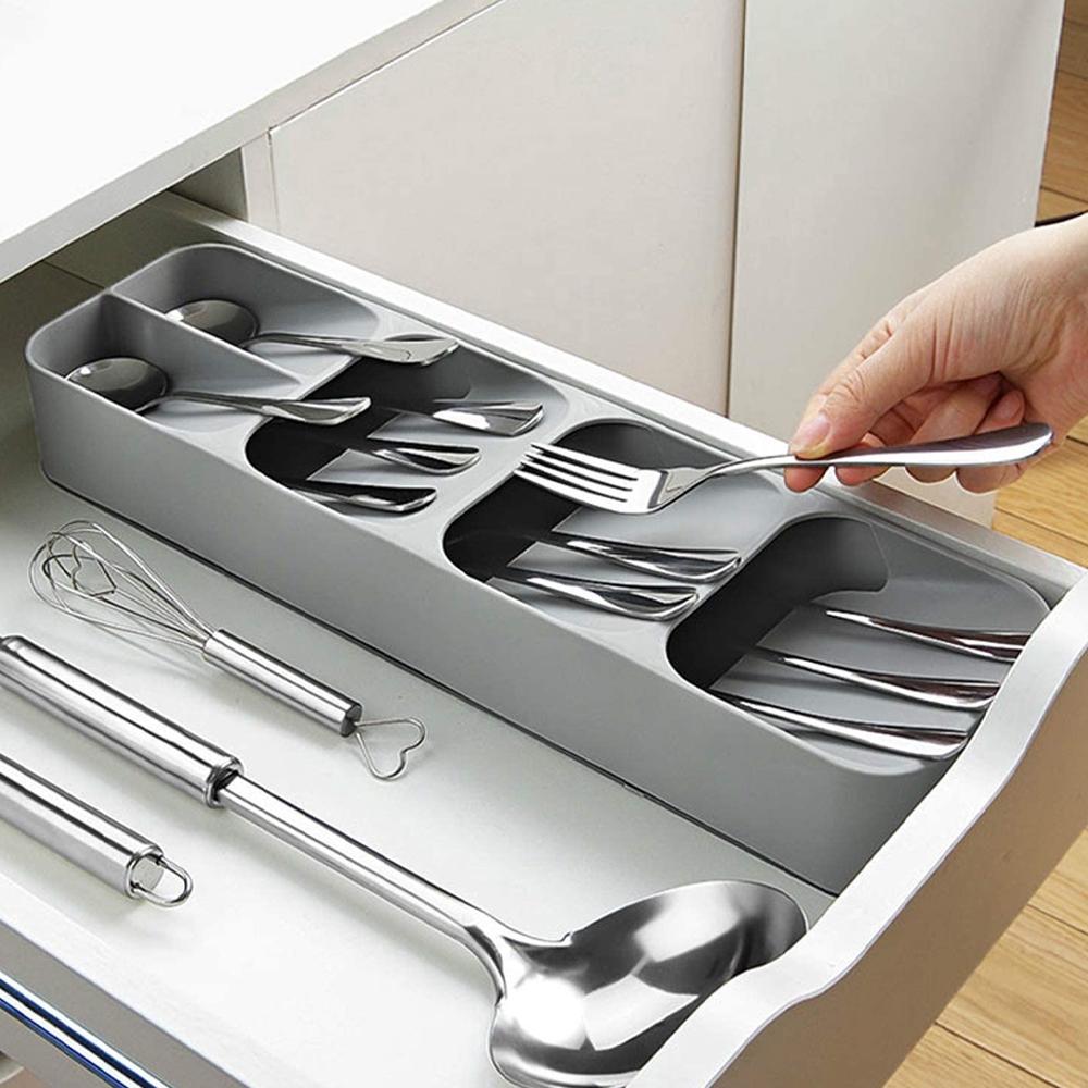 Compact Cutlery Organizer Kitchen Drawer Tray