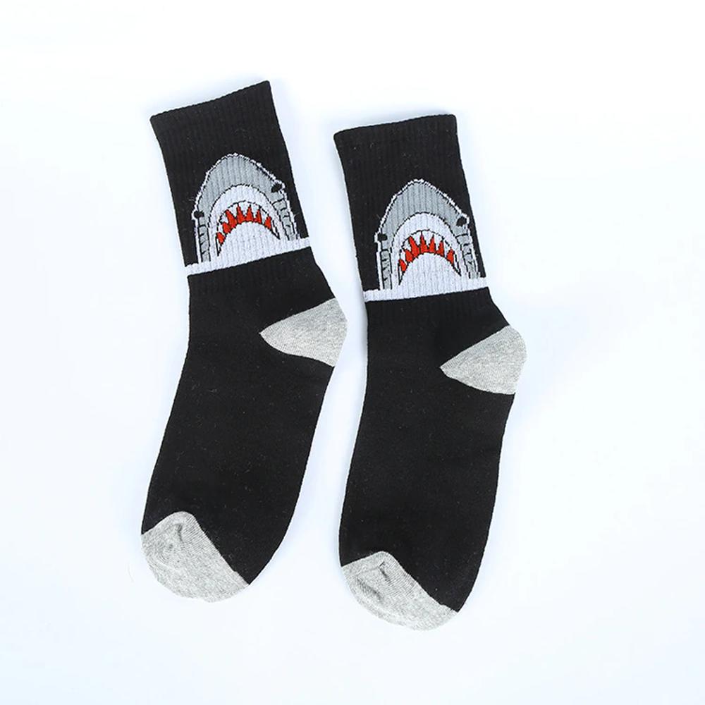Grey & White Cotton Shark Socks - Black
