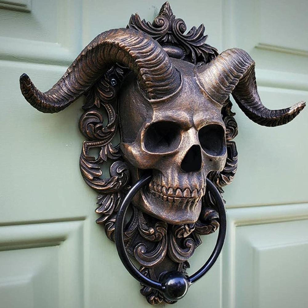 horned skull door knocker5