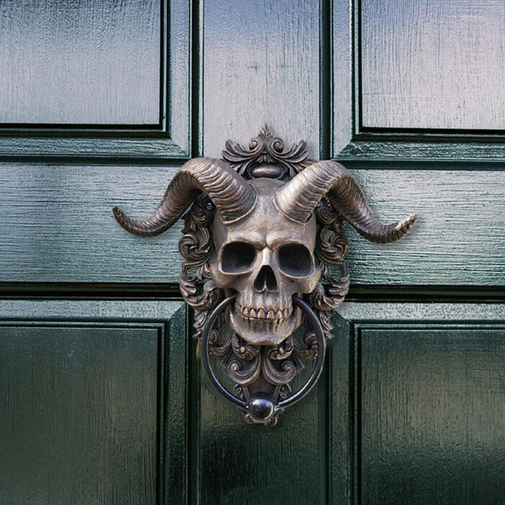 horned skull door knocker1