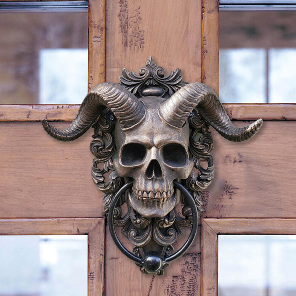 horned skull door knocker2