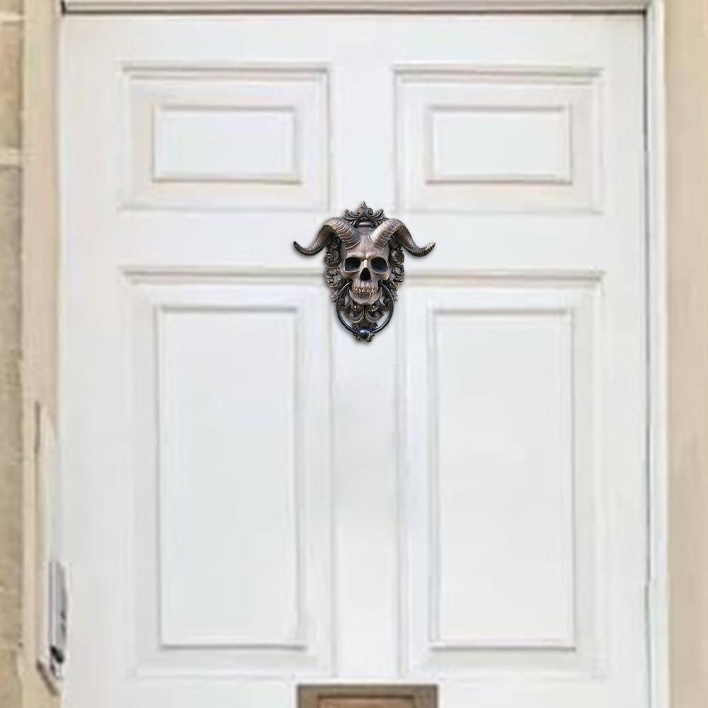 horned skull door knocker3