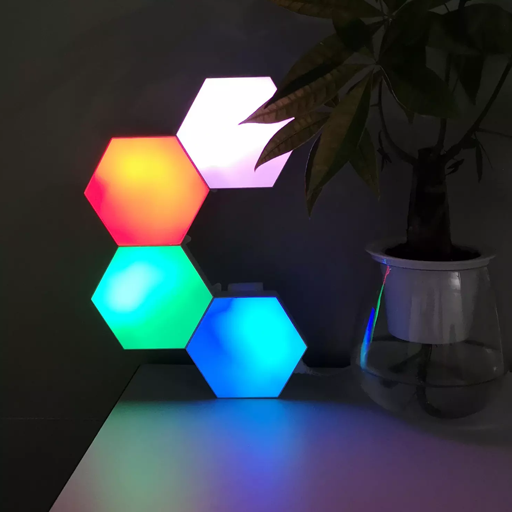 Multicolor Touch Sensitive Hexagon Lights for Wall, Room, & Office