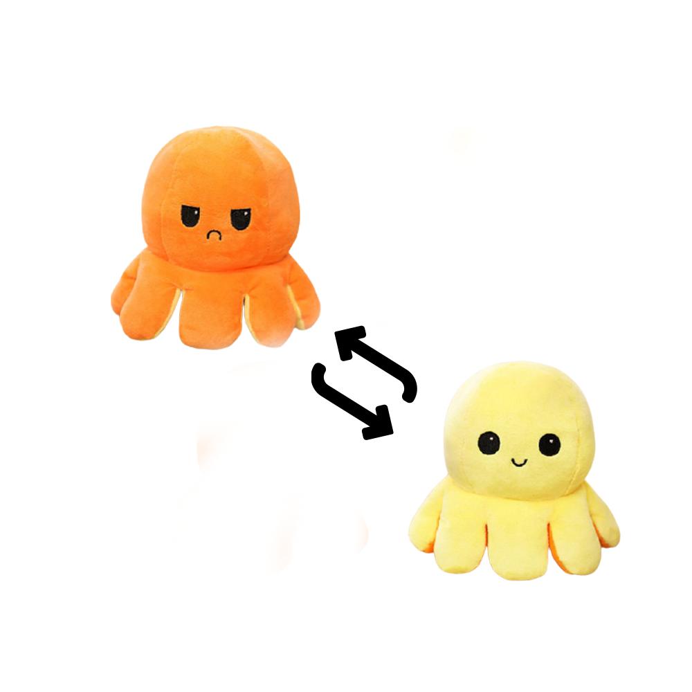 Multicolored Reversible Octopus Plush Toy - Orange