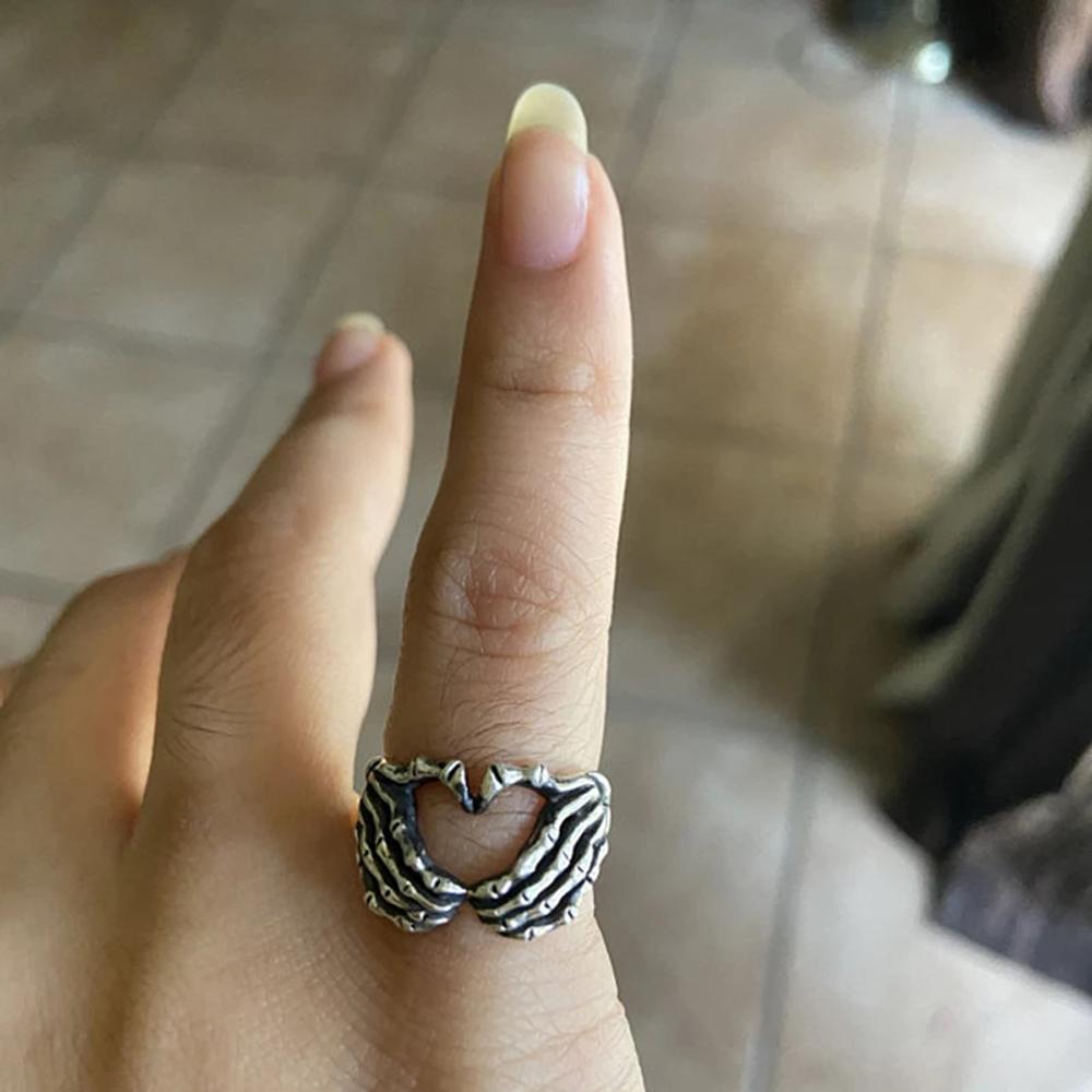 Realistic Silver Skull Hand Heart Ring