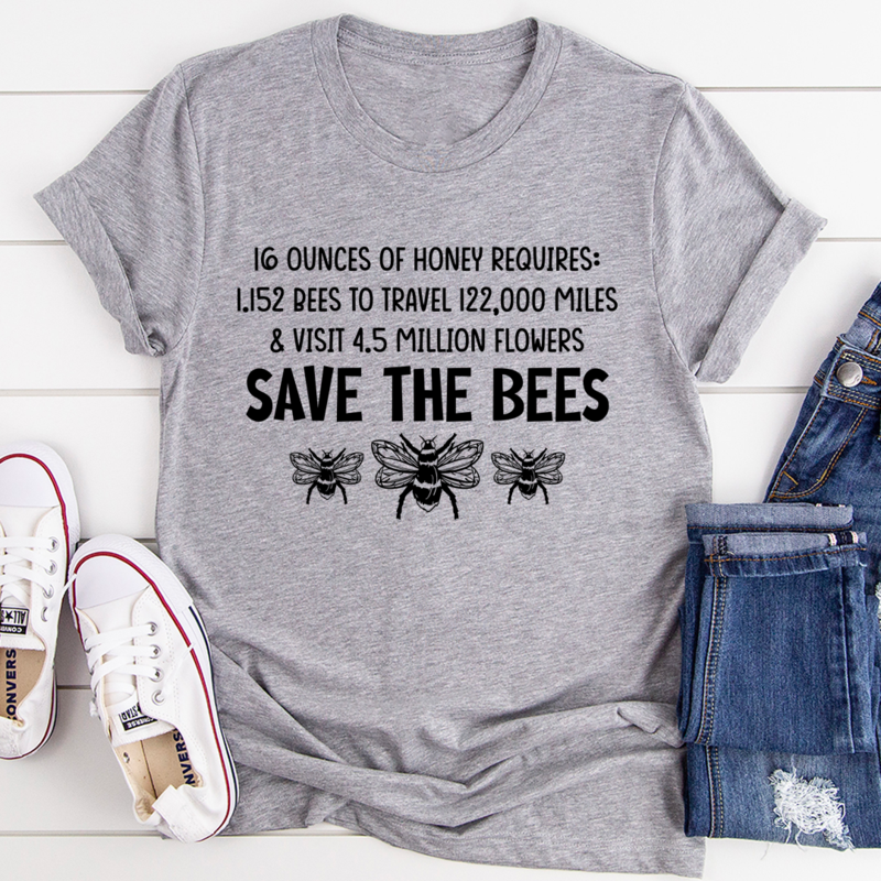 Save The Bees Tee - Athletic Heather/S
