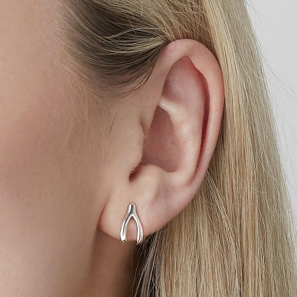 Silver & Gold Wishbone Stud Earrings - Silver