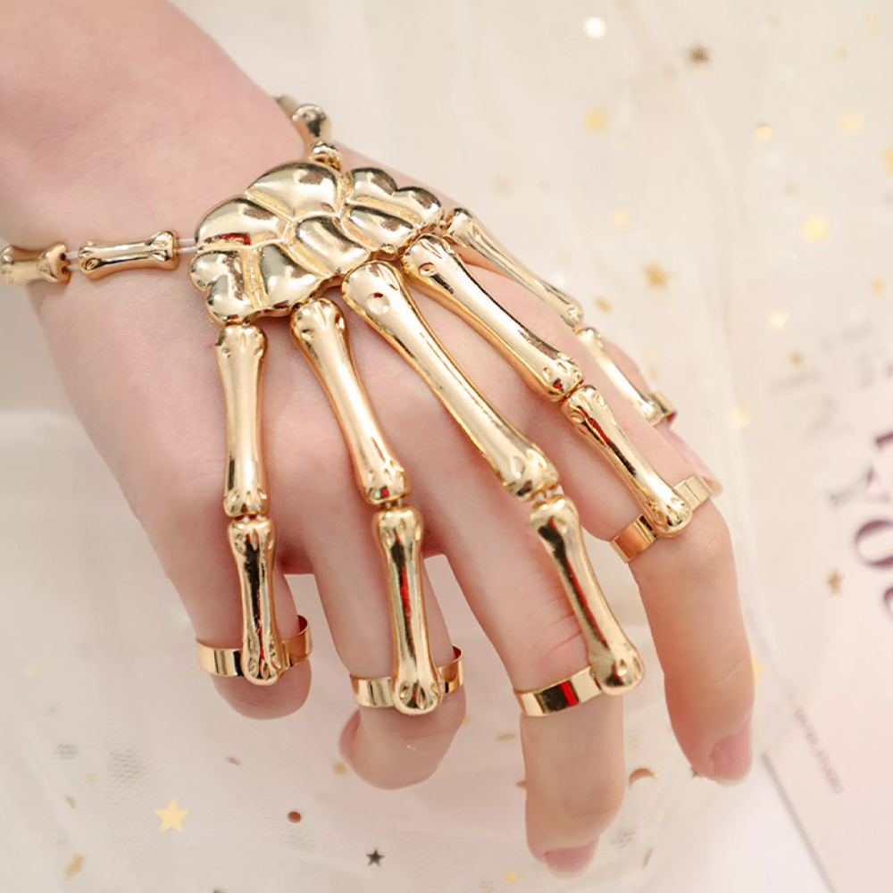 skeletonhandringbraceletgolden