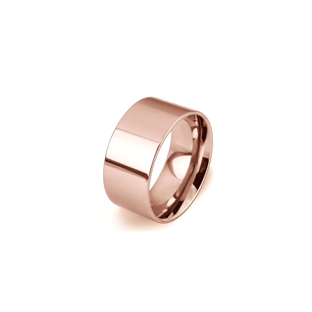 Stainless Steel Mens Cigar Band Ring - Rose Gold/6