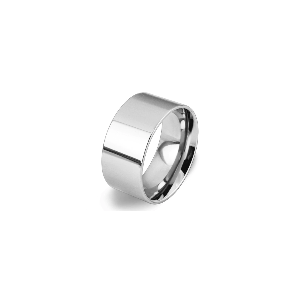 Stainless Steel Mens Cigar Band Ring - Silver/6