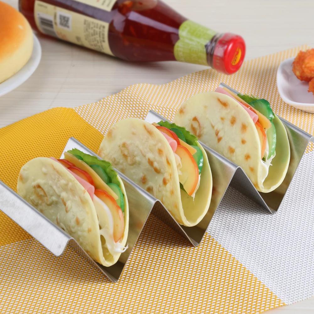 Stainless Steel Restaurant-Style Taco Holder Rack