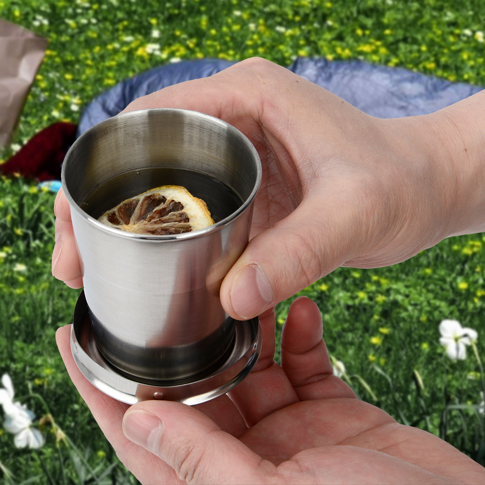 Stainless Steel Travel Folding Collapsible Cup With Keychain Lid