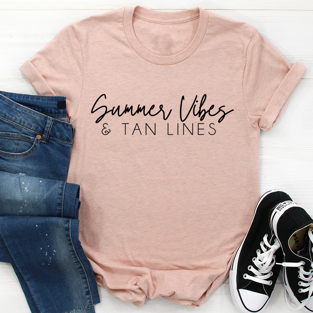 Summer Vibes & Tan Lines Tee - Heather Prism Peach/S