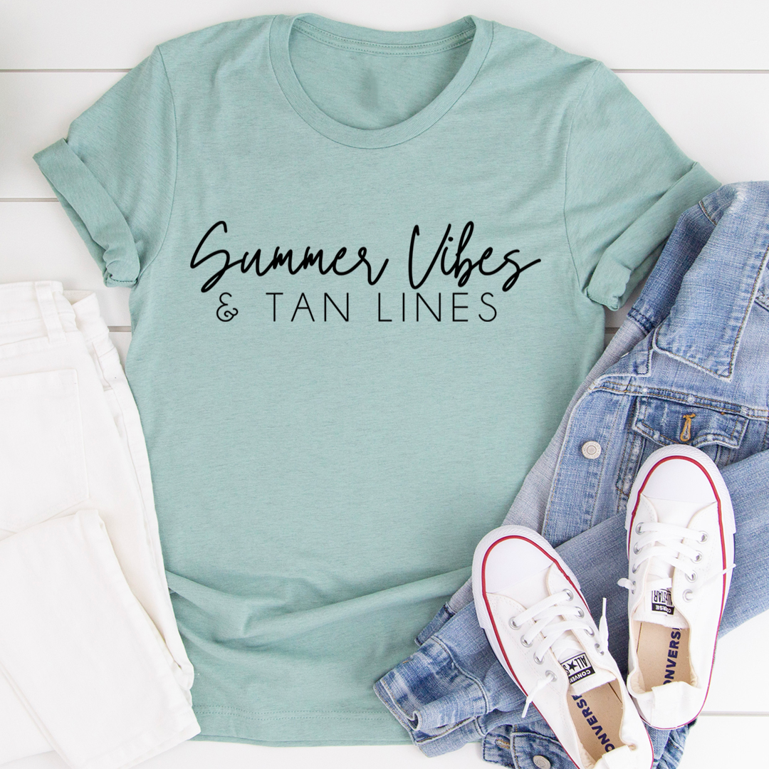 Summer Vibes & Tan Lines Tee - Heather Prism Dusty Blue/S