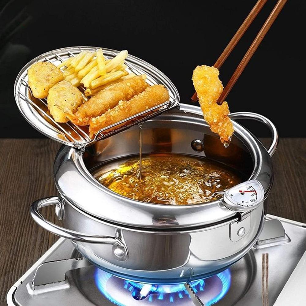 Tempura Stainless Steel Deep Fryer Pot With Temperature Control