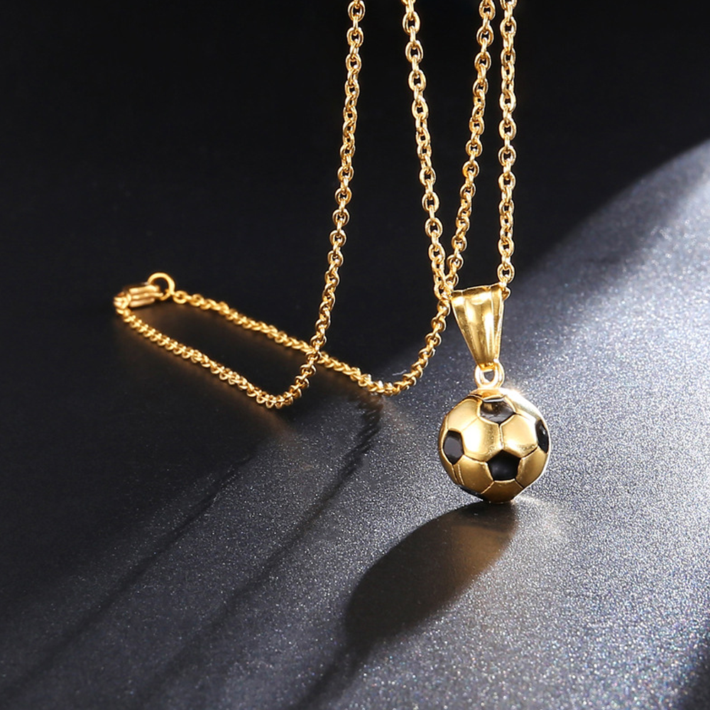 Unisex Soccer Ball Pendant Charm Necklace - Gold