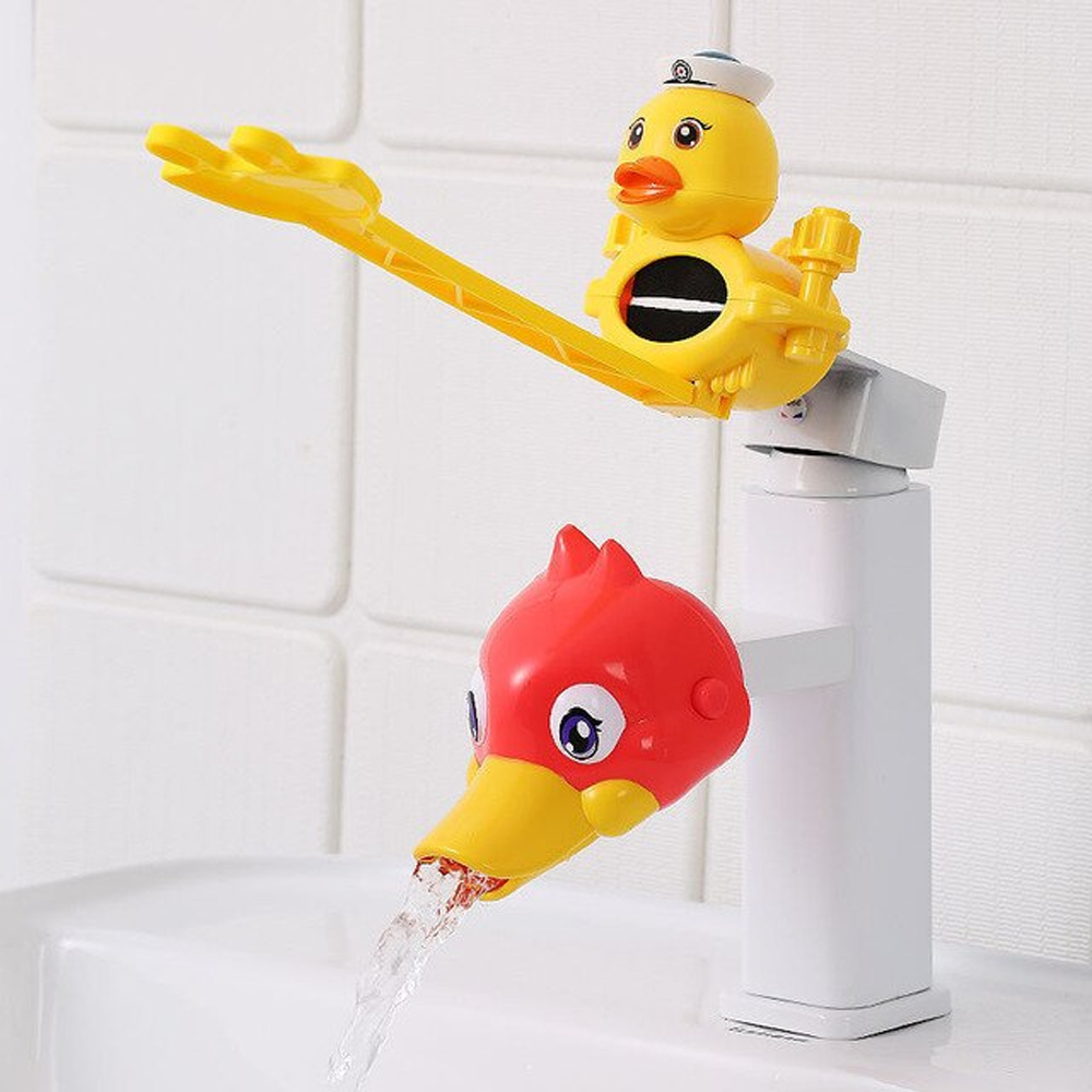 Water Faucet & Handle Extender Set For Toddlers & Young Kids, Plastic Material - Orange Duck