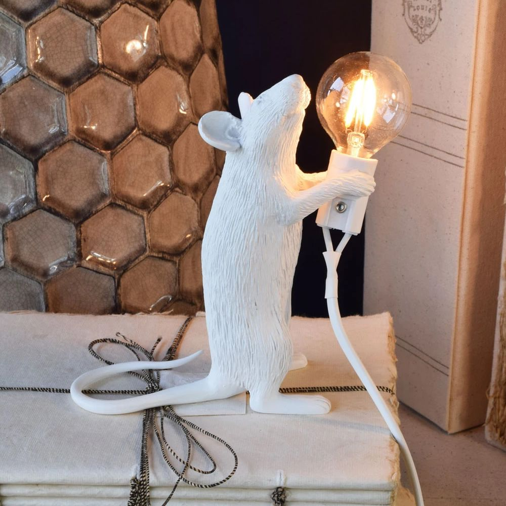 whimsical resin mouse lamps with e12 bulbs - white station