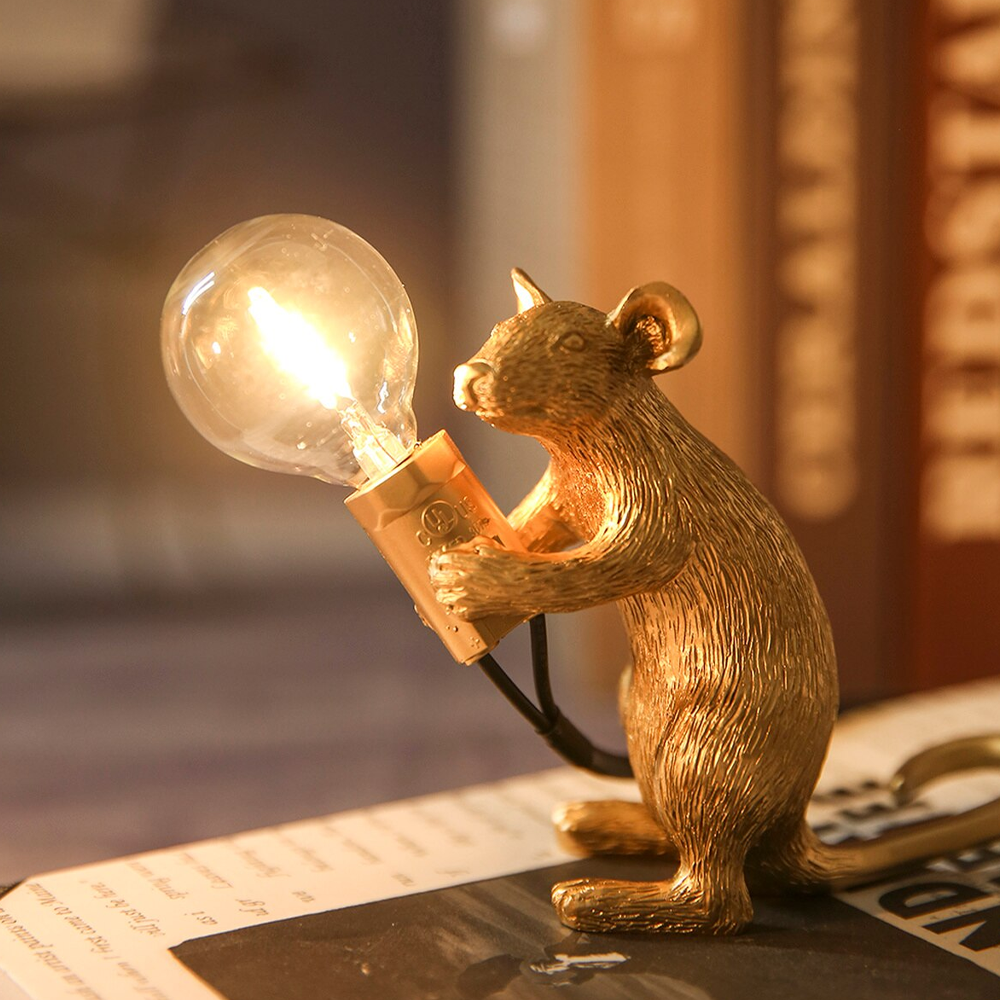 Whimsical Resin Mouse Lamps With E12 Bulbs - Gold Sit