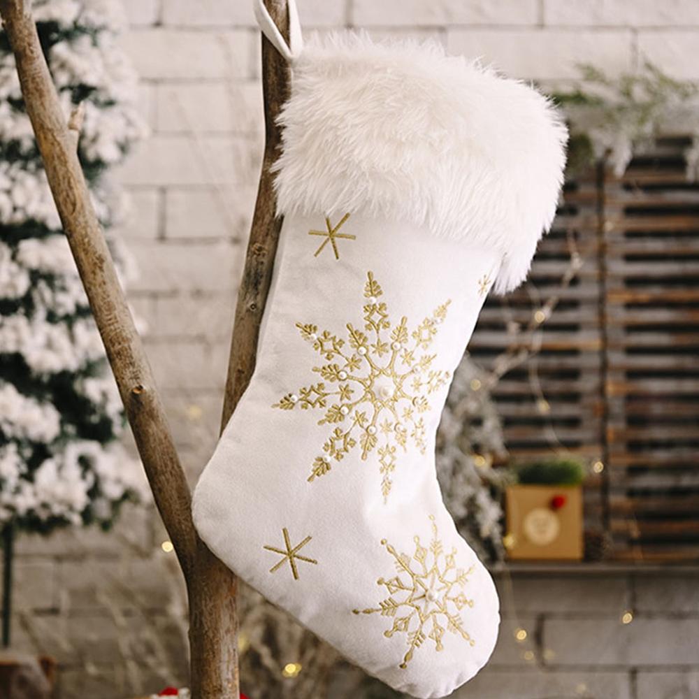 White Faux Fur Christmas Stocking