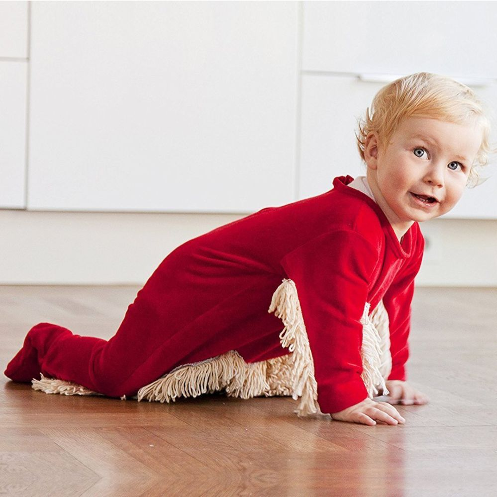 Adorably Funny Baby Romper Mop-Red / 6M