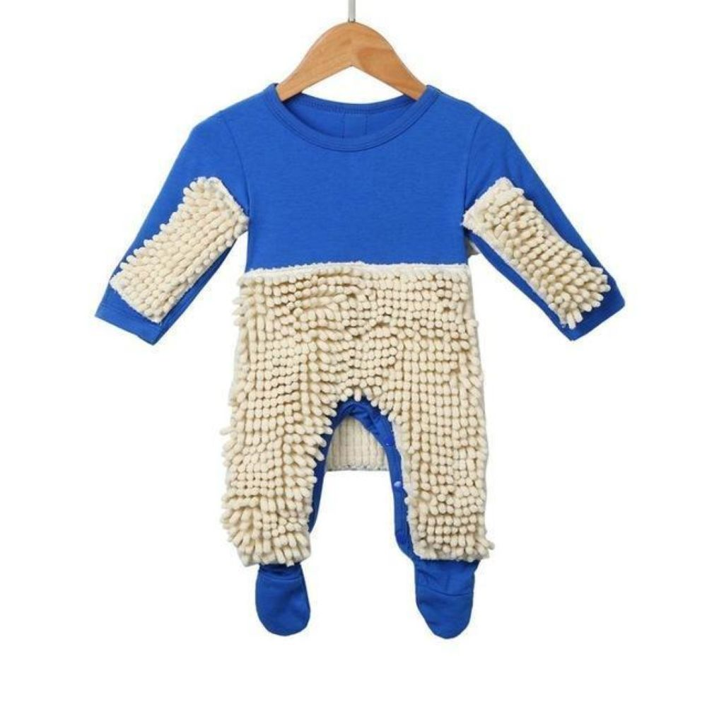 Adorably Funny Baby Romper Mop-Blue / 6M