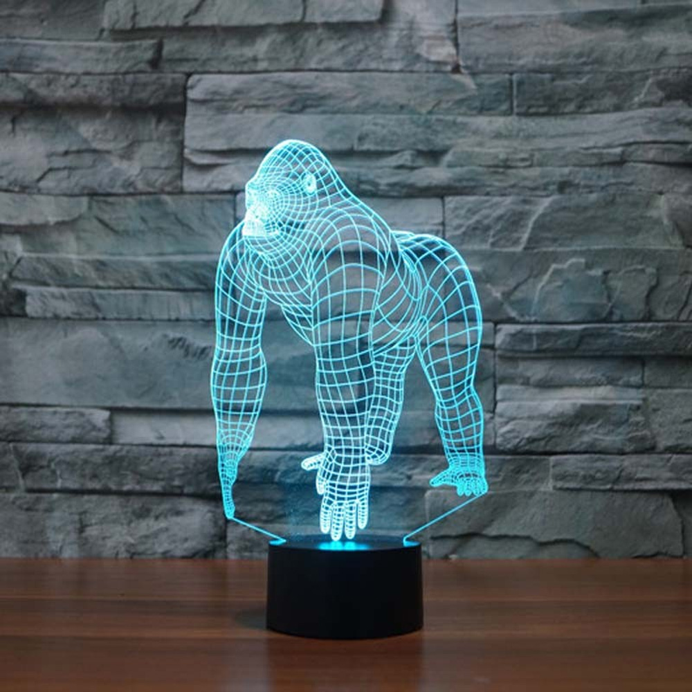 3D Illusion LED Gorilla Lamp With 7 Switchable Colors