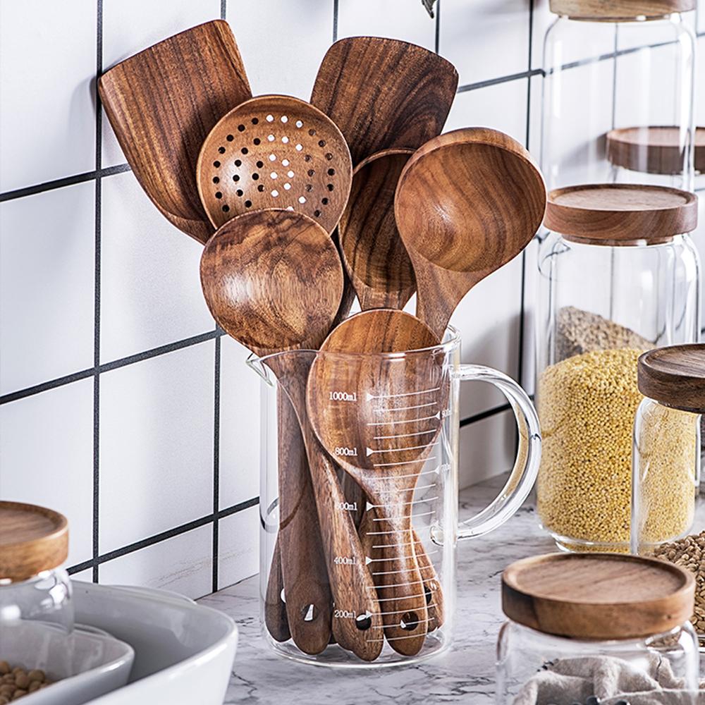 7 Piece Natural Teak Wood Spoons & Kitchen Utensils