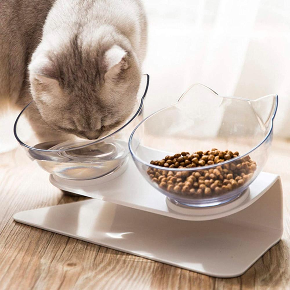 Anti-Vomiting Orthopedic Cat Bowl For Food & Water, Plastic Material