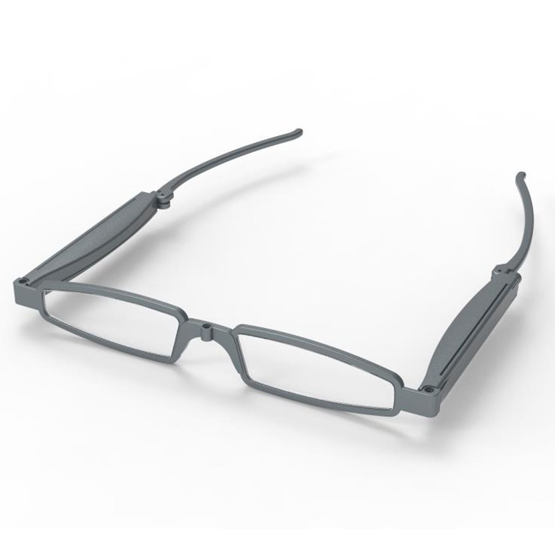 Collapsible Fashionable Foldable Pocket Glasses For Reading-Silver-+150
