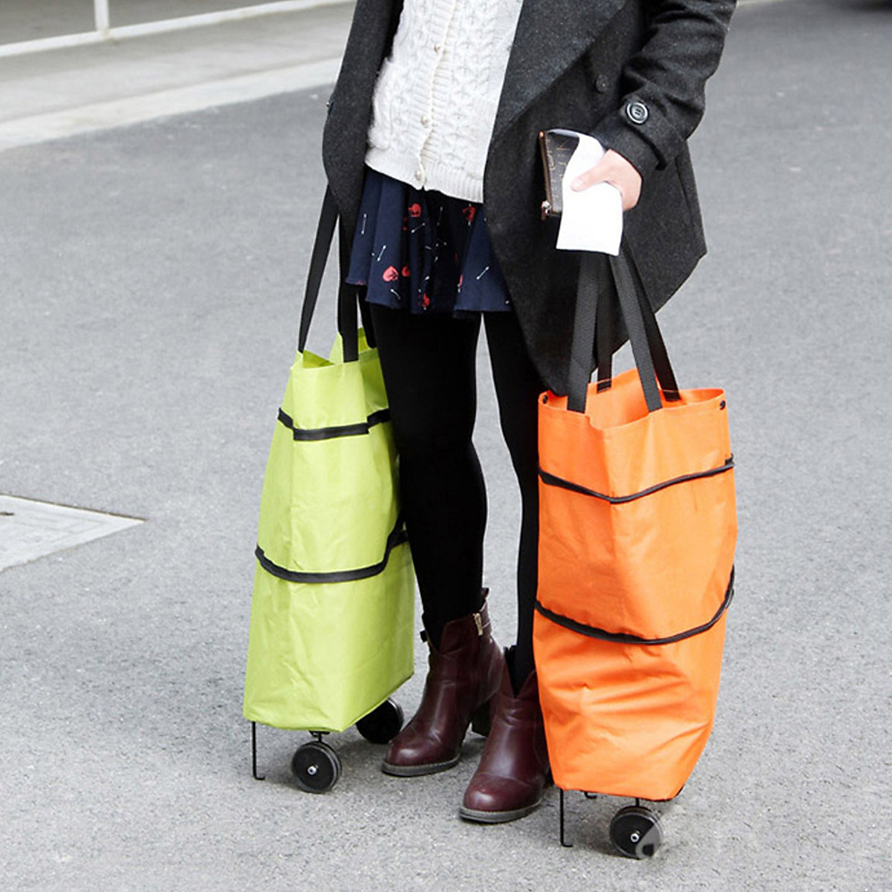 Collapsible Trolley Bags with Folding Wheels