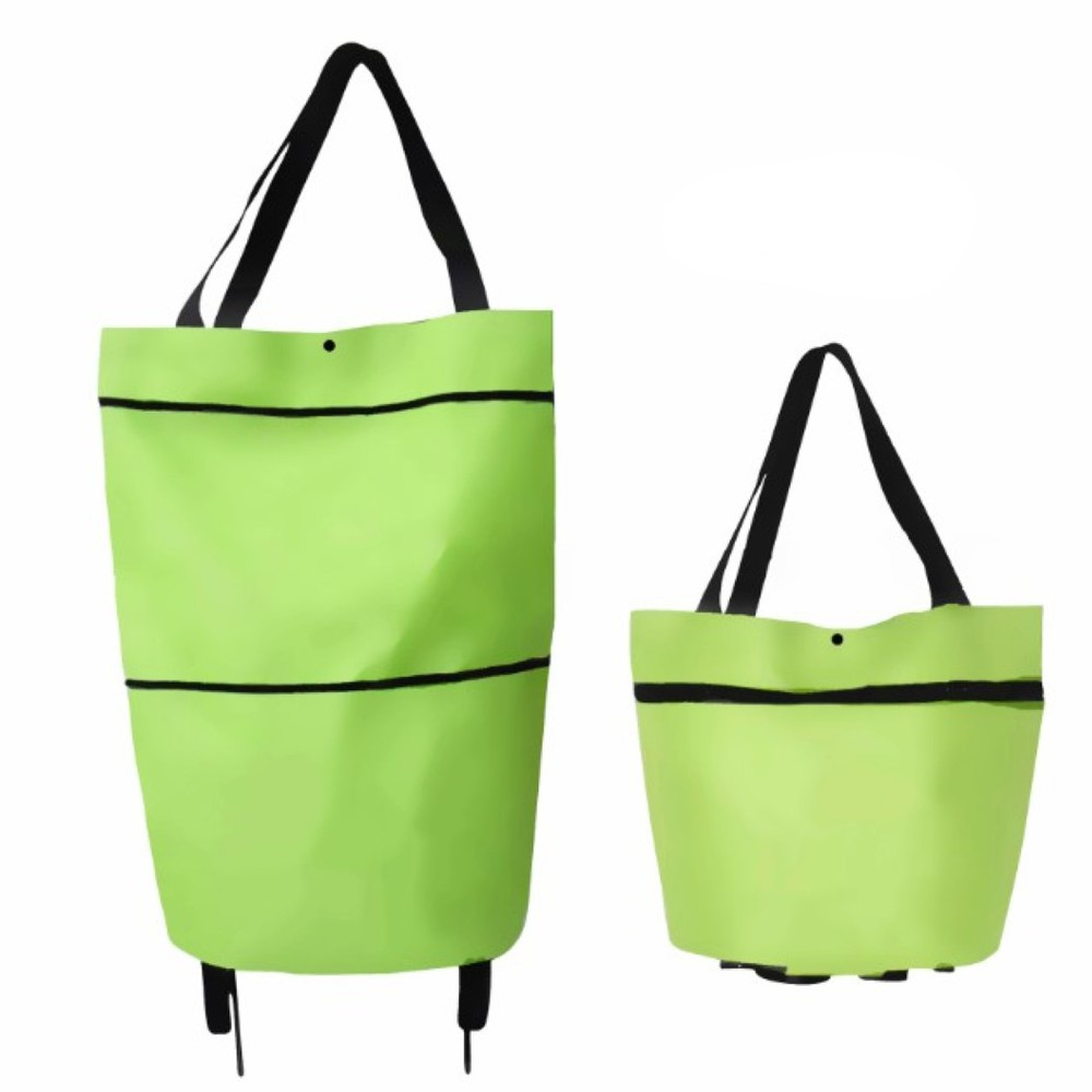 Collapsible Trolley Bags With Folding Wheels-Green