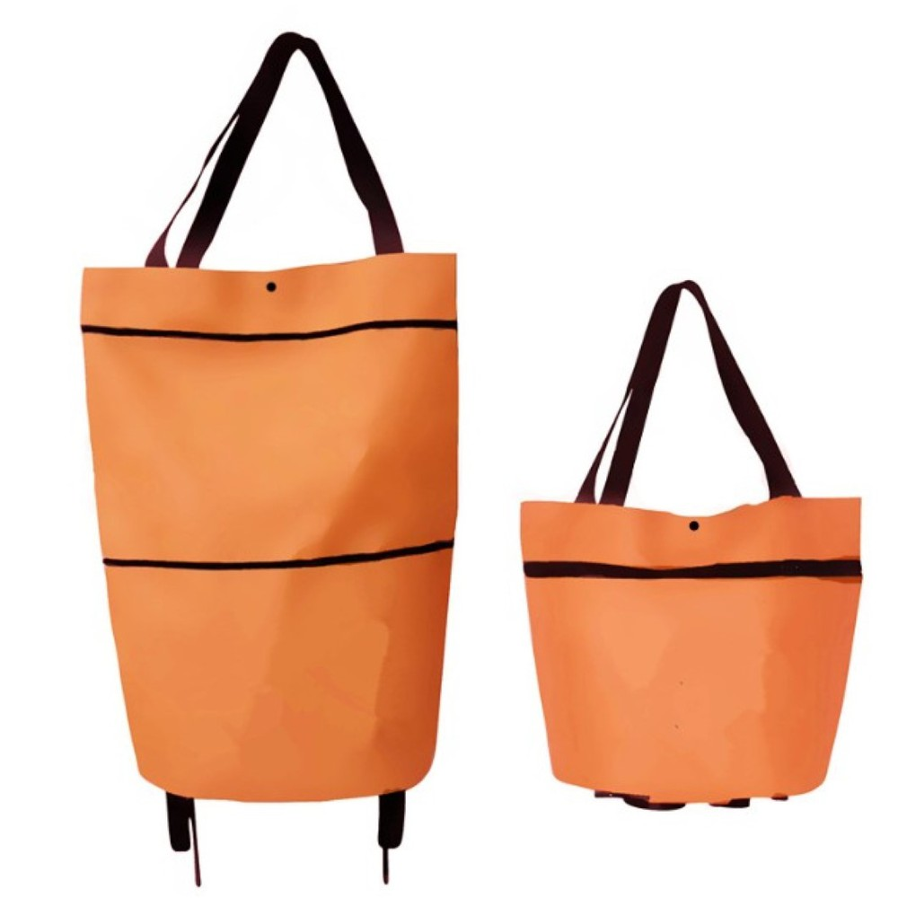 collapsible trolley bags with folding wheels-orange